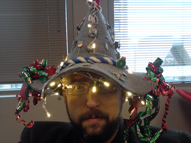 My entry into my work's crazy hat contest for the Holiday Party.